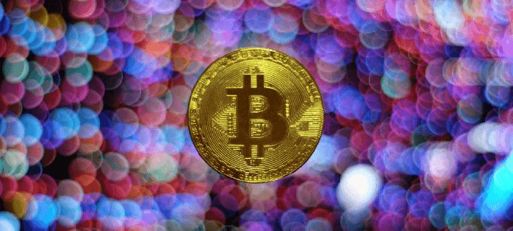 Bitcoin on Multi Coloured Background