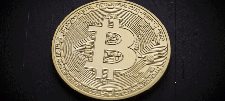 Single Bitcoin on Black Background